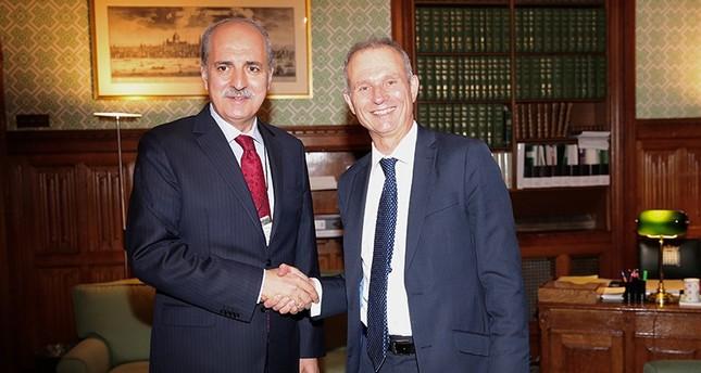 Turkish Deputy PM Kurtulmuş (L) met with UK House of Commons leader David Lidington. (AA Photo)