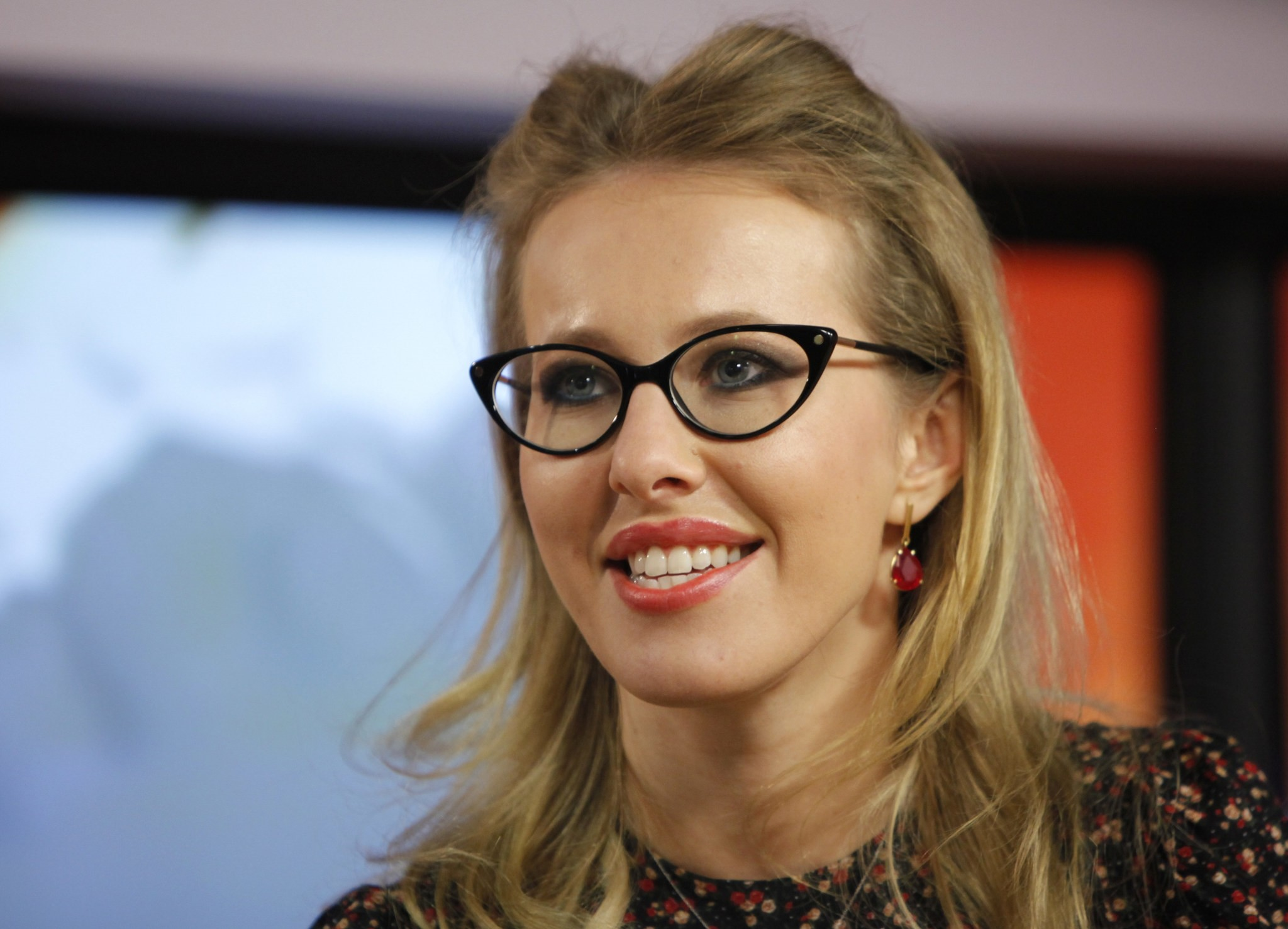 In this file photo taken on Wednesday, Jan. 18, 2012, Russian socialite and TV host Ksenia Sobchak speaks to journalists during her interview in the Echo Moskvy. (AP Photo)