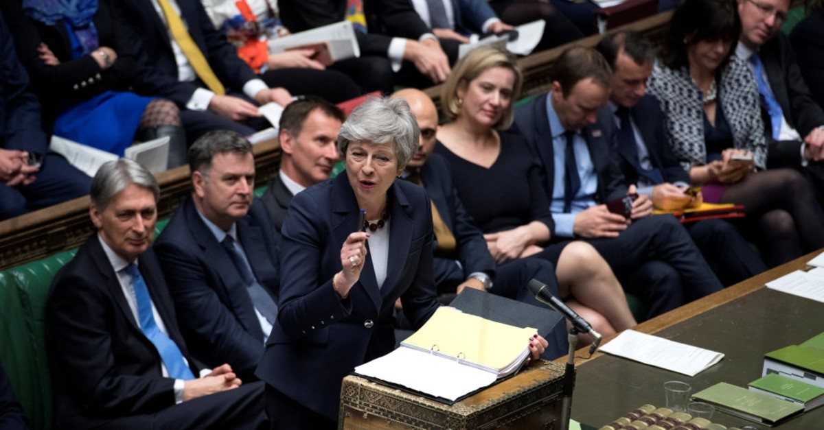 British Prime Minister Theresa May speaks at the House of Commons about the Brexit options, London, Britain, March 27, 2019.