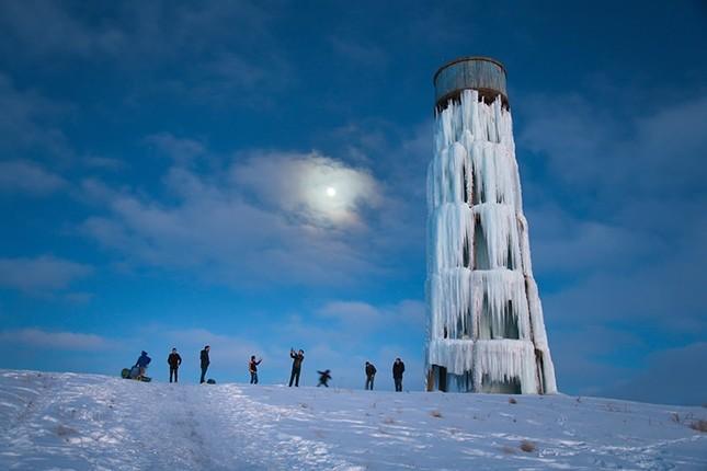 Frozen water tank in eastern Turkey appears as ice tower