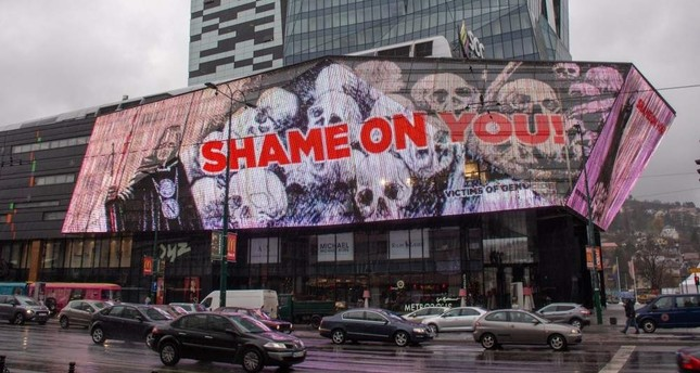 A shopping mall in Bosnian capital Sarajevo protests the Nobel Prize for awarding Peter Handke by writing shame on you, Nov. 10, 2019.