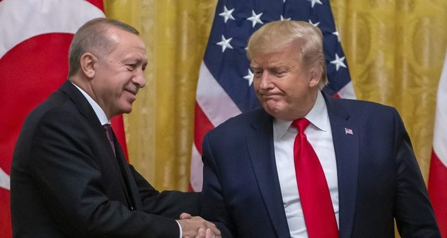 President Recep Tayyip Erdo?an and U.S. President Donald Trump  shake hands after their joint press conference in Washington, D.C.,13 Nov. 2019.   EPA