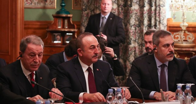 Turkey's Defense Minister Hulusi Akar, Foreign Minister Mevlüt Çavuşoğlu and MIT Chief Hakan Fidan attend meeting in Moscow on Monday, Jan. 13, 2020 AA Photo