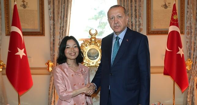 President Recep Tayyıp Erdoğan hosts Japanese Princess Akiko Mikasa at Yıldız Palace's Mabeyn Villa in Istanbul. (AA Photo)