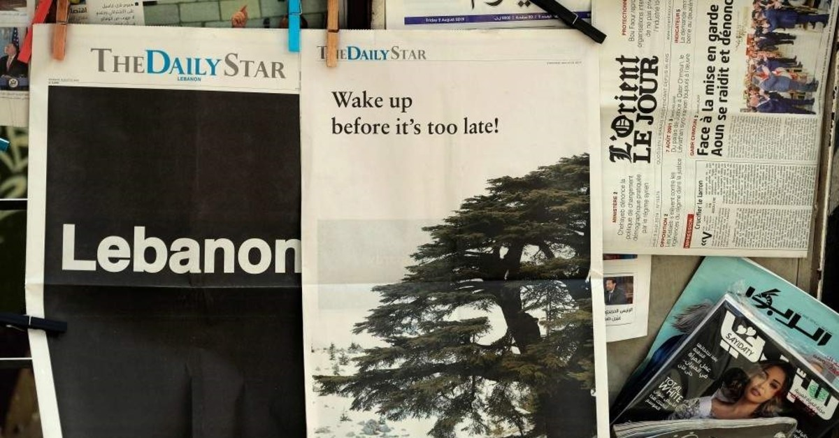 The front pages of the Lebanese English-language newspaper The Daily Star, Beirut, Aug. 8, 2019. (AFP Photo)