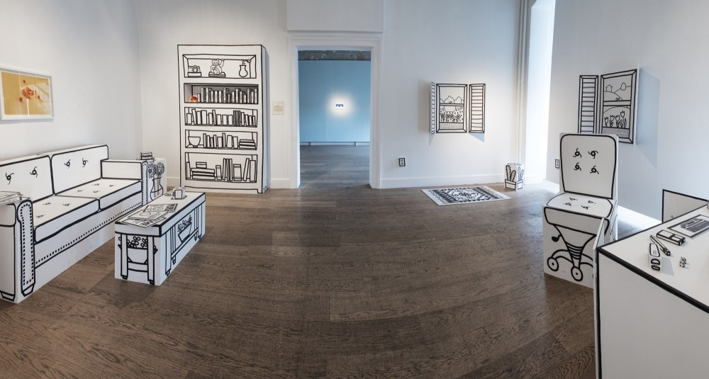 Sunday Morning, a room in Galerist, works seen include ,Home Office, by Saara Untracht-Oakner, (2018, wood, marker, paint, objects of variable dimensions) and ,Untitled, by Ulau015f & Merve (2018, print, 40 x 60 cm), among others.