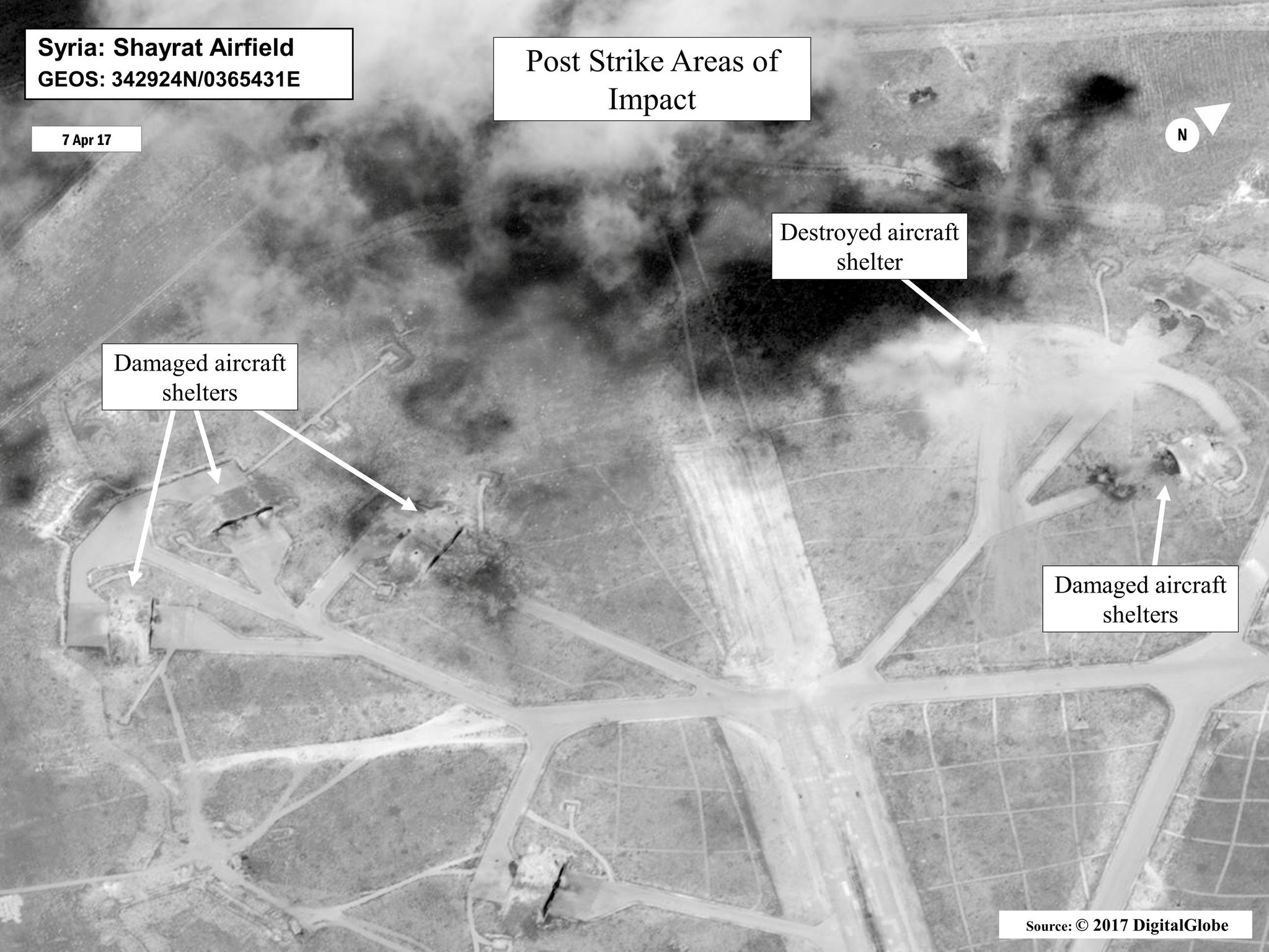 This satellite image released by the U.S. Department of Defense shows a damage assessment image of Shayrat air base in Syria.