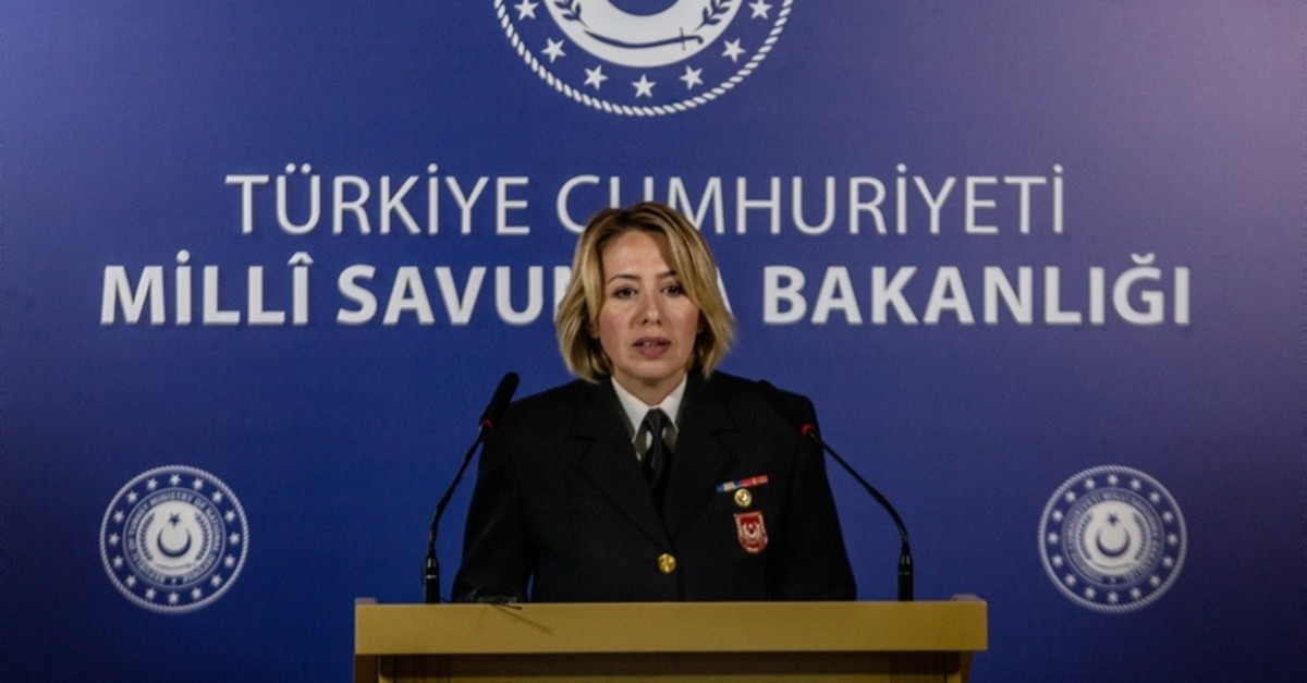 Lt. Commander Nadide u015eebnem Aktop addresses reporters at the Defense Ministry HQ in Ankara on Tuesday Oct. 22, 2019 (DHA Photo)