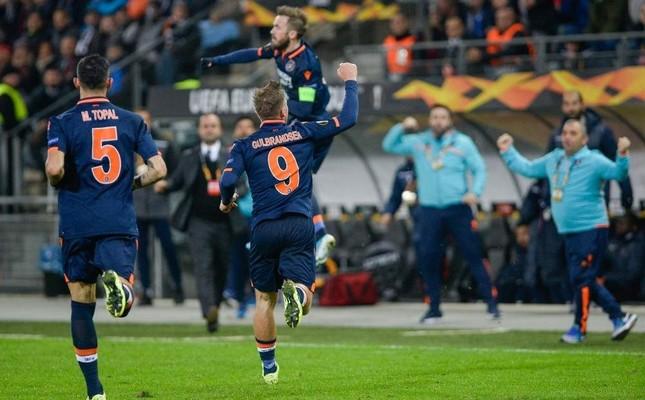 Başakşehir players celebrate their goal against Wolfsberger FC during the UEFA Europa League match at Stadion Graz Liebenau, Austria, Nov. 7, 2019. (AA Photo)