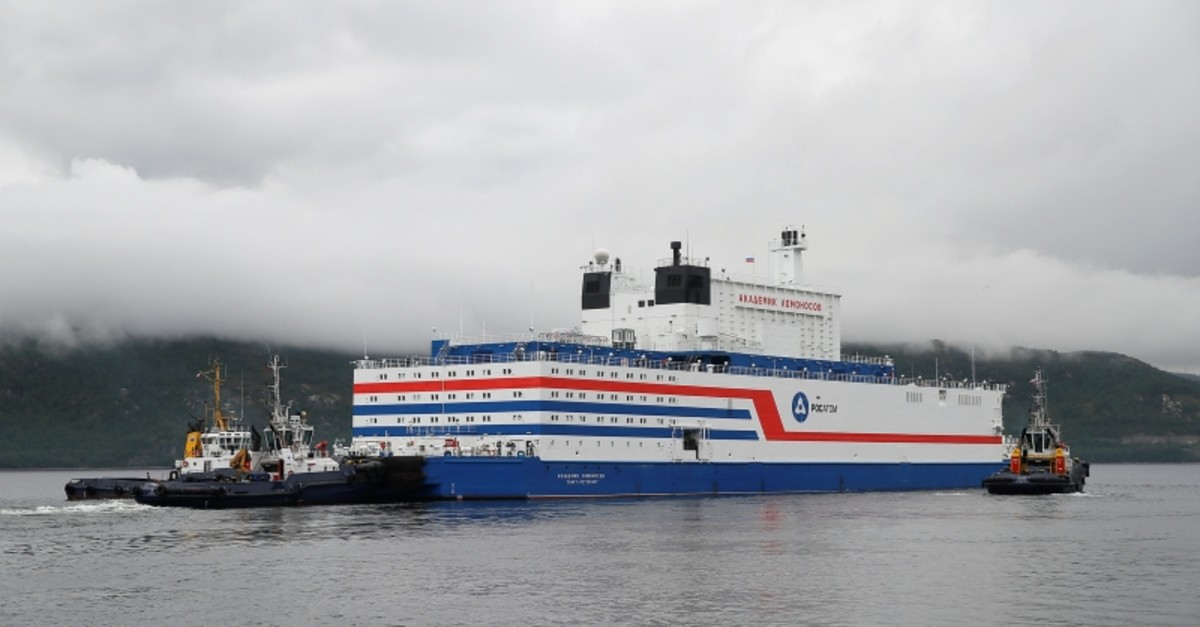 Russia's floating nuclear power plant Akademik Lomonosov leaves the service base of Rosatomflot company for a journey along the Northern Sea Route to Chukotka from Murmansk, Russia, Aug. 23, 2019. (Reuters Photo)