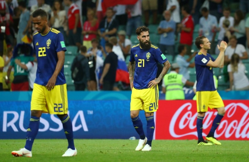 Sweden's Jimmy Durmaz (#21) looks dejected after the group F match between Germany and Sweden at the 2018 football World Cup in the Fisht Stadium in Sochi, Russia, Saturday, June 23, 2018. (Reuters Photo)