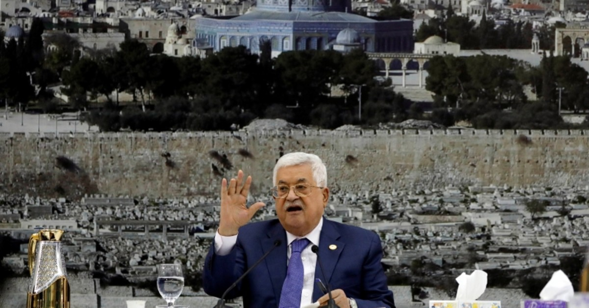 Palestinian President Mahmoud Abbas gestures as he speaks during a meeting with the Palestinian leadership in Ramallah, in the Israeli-occupied West Bank July 25, 2019. (Reuters Photo)