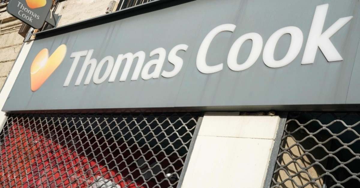 A picture taken on September 23, 2019 in Montpellier, shows the logo of British travel group Thomas Cook. (AFP Photo)