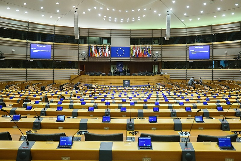 A view of the hemicycle ahead of a plenary session at the European Parliament in Brussels, Belgium (EPA Photo)