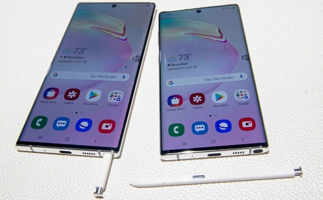The Samsung Galaxy Note 10, right, and the Galaxy Note 10 Plus are on display during an event to launch the Samsung Galaxy Note 10, Wednesday, Aug. 7, 2019, in New York. AP Photo