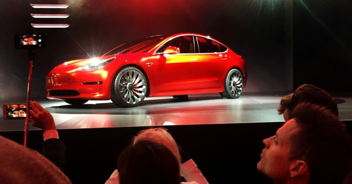 A Tesla Model 3 sedan, its first car aimed at the mass market, is displayed during its launch in Hawthorne, California, U.S. March 31, 2016. (Reuters Photo)