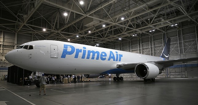 A Boeing 767, an Amazon.com Prime Air cargo plane is parked on display Thursday, Aug. 4, 2016, in a Boeing hangar in Seattle. (AP Photo)