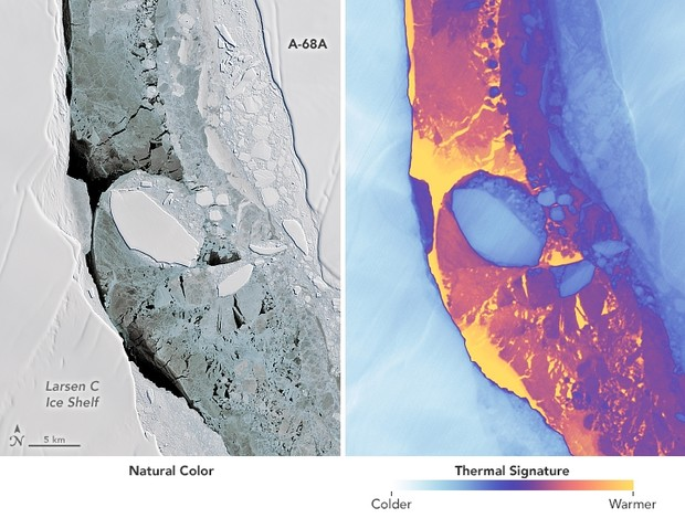 NASA releases close-up images of one of biggest icebergs in history