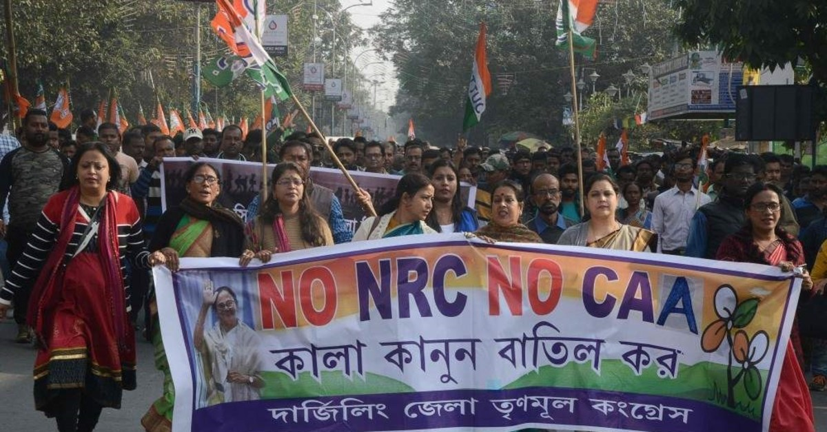 Supporters and activists of Trinamool Congress (TMC) take part in a rally against India's new citizenship law, Siliguri, Dec. 23, 2019. (AFP Photo)