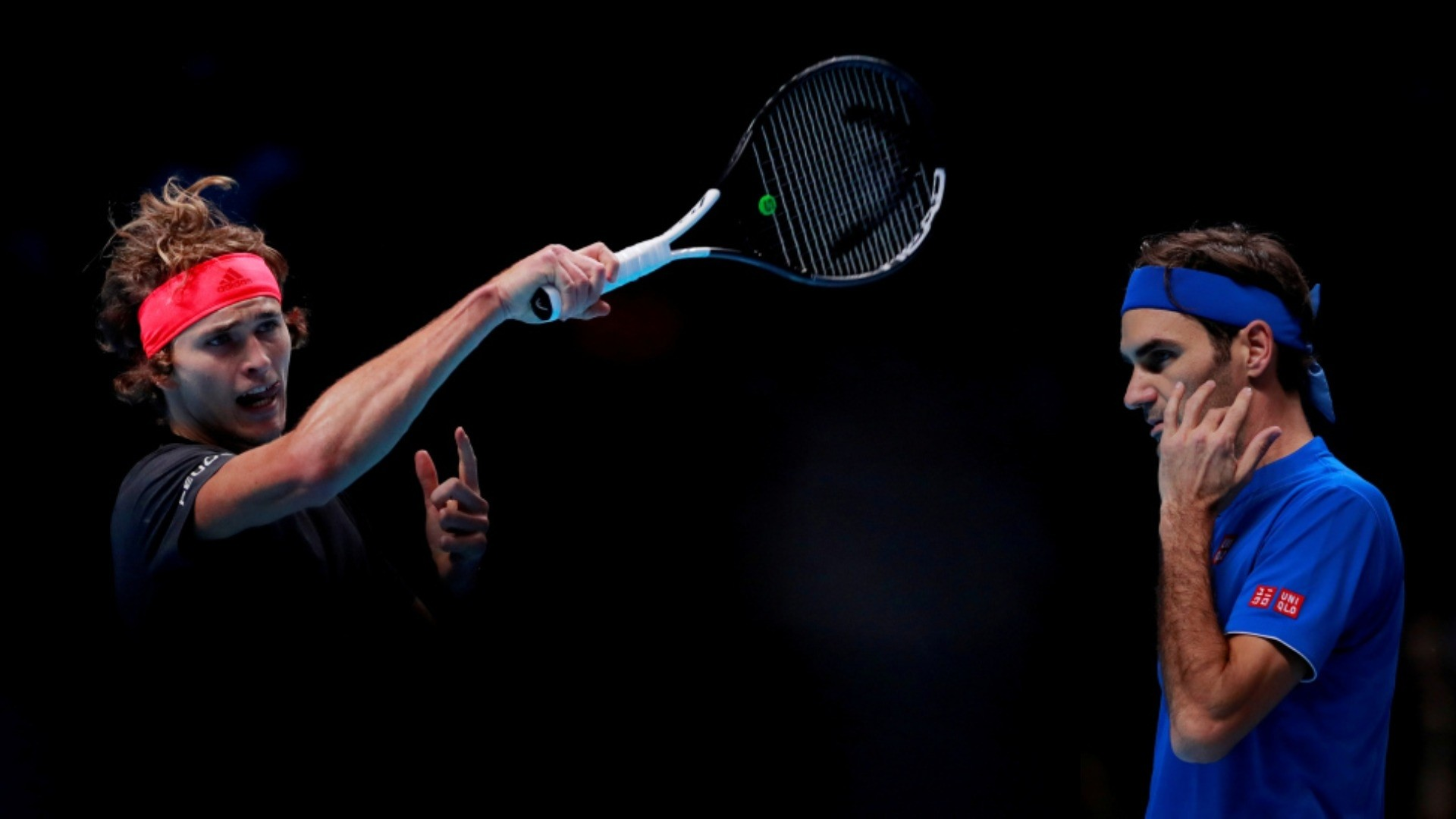 Combination image shows Alexander Zverev (L) in action during his semi final match against Roger Federer (R). (REUTERS Photos)