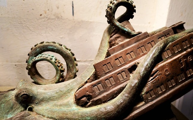 Sculpture by artist Joseph Reginella depicts the Staten Island Ferry Octopus Disaster of 1963, during which one of the borough's famous orange boats was dragged below the East River's surface by an enormous, tentacled beast.