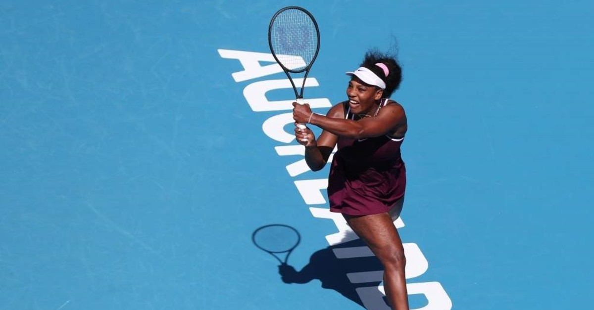 Williams hits a return against McHale during their women's singles match at the Auckland Classic, Jan. 9, 2020. (AFP Photo)