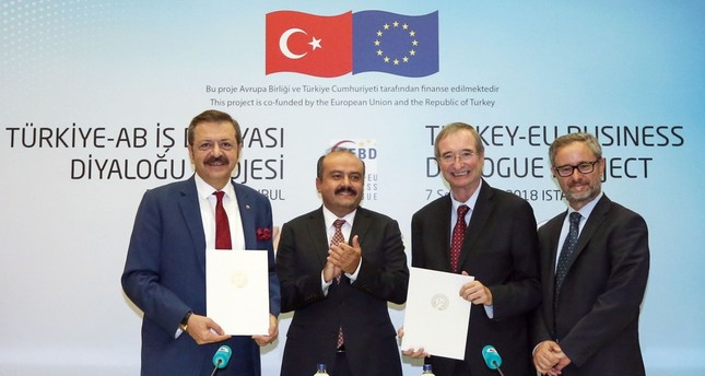TOBB Chairman Rifat Hisarcıklıoğlu, Dep. Trade Minister Fatih Metin, EUROCHAMBRES President Christoph Leitl and EU Delegation Vice Chairman Gabriel Munuera Vinals attend launching ceremony of Turkey-EU Business Dialogue project in Istanbul, Sept. 7.
