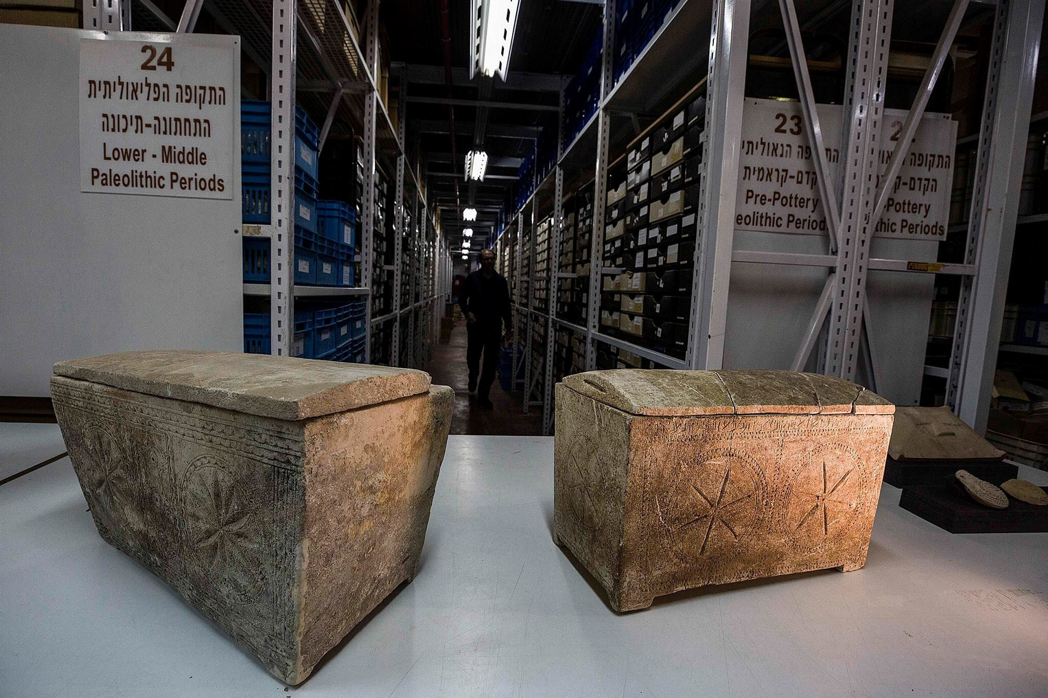 Ossuaries with inscriptions with Hebrew letters forming the word ,Yeshua,, or Jesus, are stored in Israel's antiquities authority storeroom, in Beit Shemesh. (AP Photo)