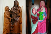 Spanish sculptures of Jesus and Mary painted bright green, fuschia pink in botched restoration
