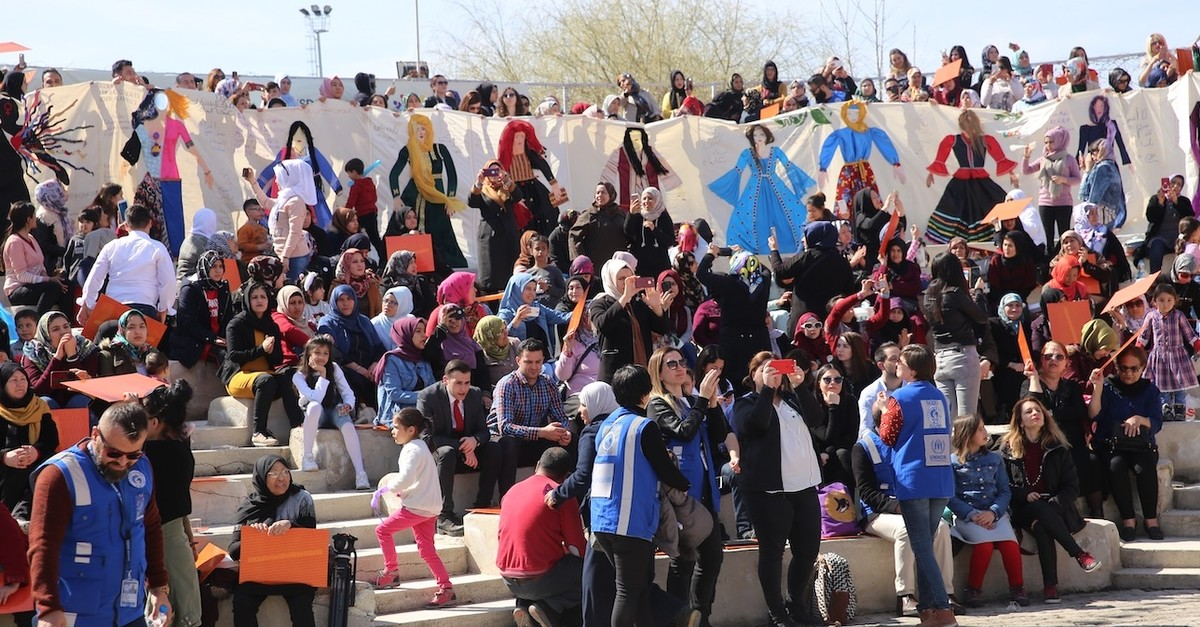 Syrian refugee women attending an event organized by the Association for Solidarity with Asylum Seekers and Migrants (ASAM) in Nevu015fehir, March 9, 2019.