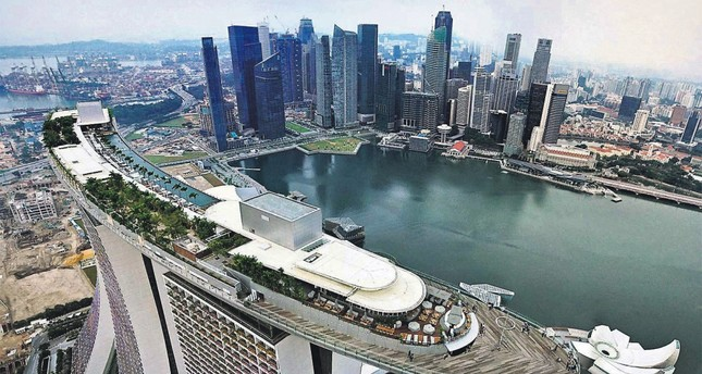 An aerial view of Singapore, with which Turkey ratified a free trade agreement to boost its partnership with ASEAN countries.