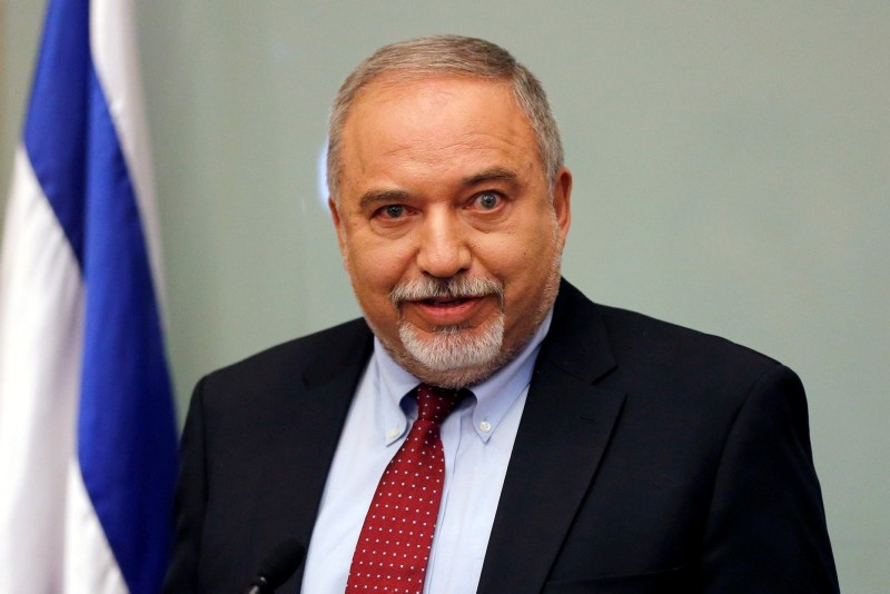 Israel's Defence Minister Avigdor Lieberman delivers a statement to the media following his party, Yisrael Beitenu, faction meting at the Knesset, Israel's parliament, in Jerusalem Nov. 14, 2018. (Reuters Photo)