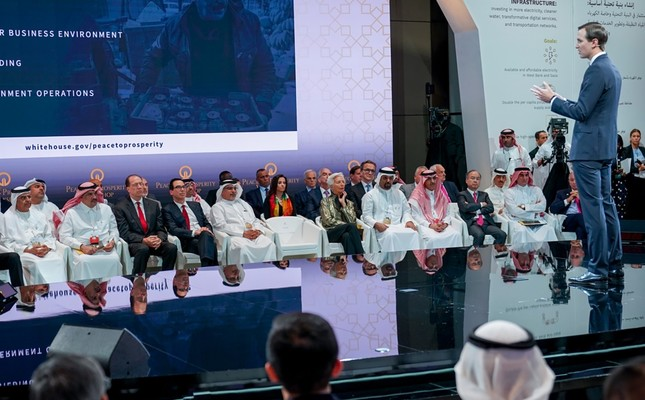 White House adviser and U.S. President Donald Trump's son-in-law Jared Kushner speaking during a U.S.-sponsored Middle East economic conference in Manama, Bahrain, June 25, 2019.