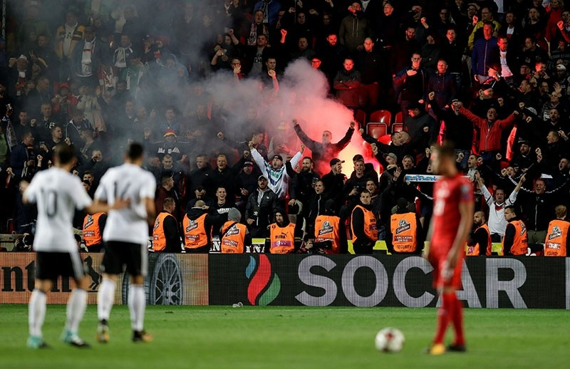 Germany fans celebrate their second goal against Czech Republic with a flare at the World Cup qualifier game in Prague, Sept. 1, 2017. (Reuters Photo)