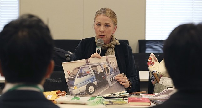 Catherine Fisher of Australia speaks during a meeting with Japanese government officials in Tokyo, Friday, April 6, 2018. (AP Photo)