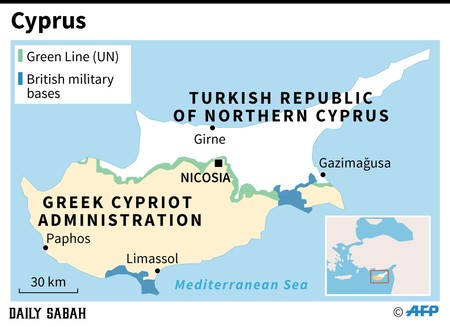Map of the eastern Mediterranean island of Cyprus, divided since 1974 when Turkey, a guarantor country, intervened after a Greek coup seeking to unite the island with Greece.