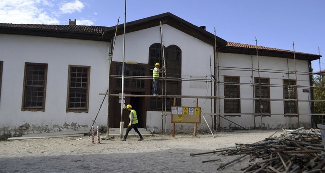 The restoration works at the school continue.
