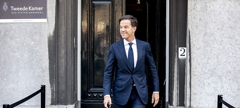Dutch Mark Rutte of The People's Party for Freedom and Democracy (VVD) looks on at the Binnenhof, where conversations take place with Edith Schippers, in The Hague, on May 22, 2017. AFP Photo