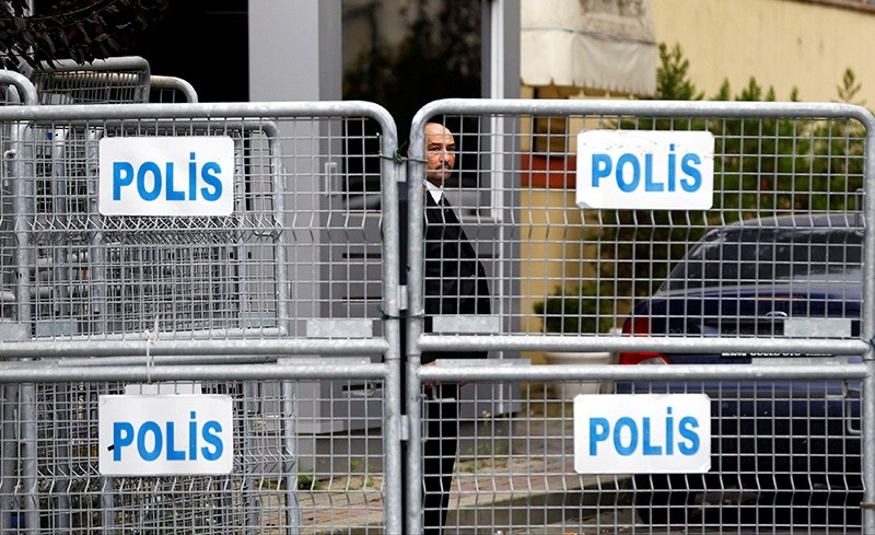 A member of security staff is seen next to the barriers at the gate of Saudi Arabia's consulate in Istanbul, Turkey, Oct. 21, 2018. (Reuters Photo)