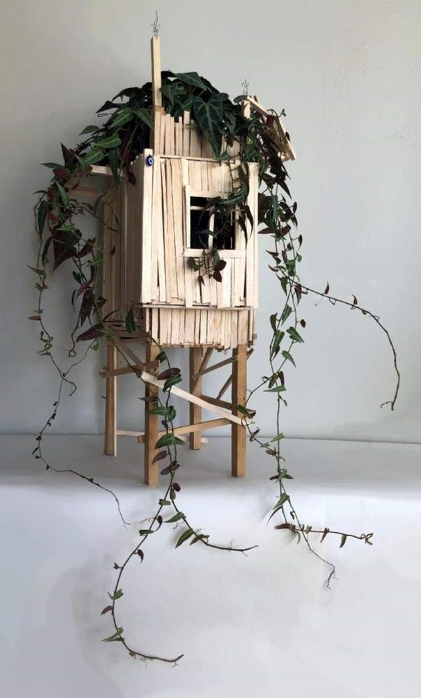 ,Untitled, (2019) by Go?kc?en Ataman, wood, evil eye, live plant, 30 cm x 30 cm x 60 cm