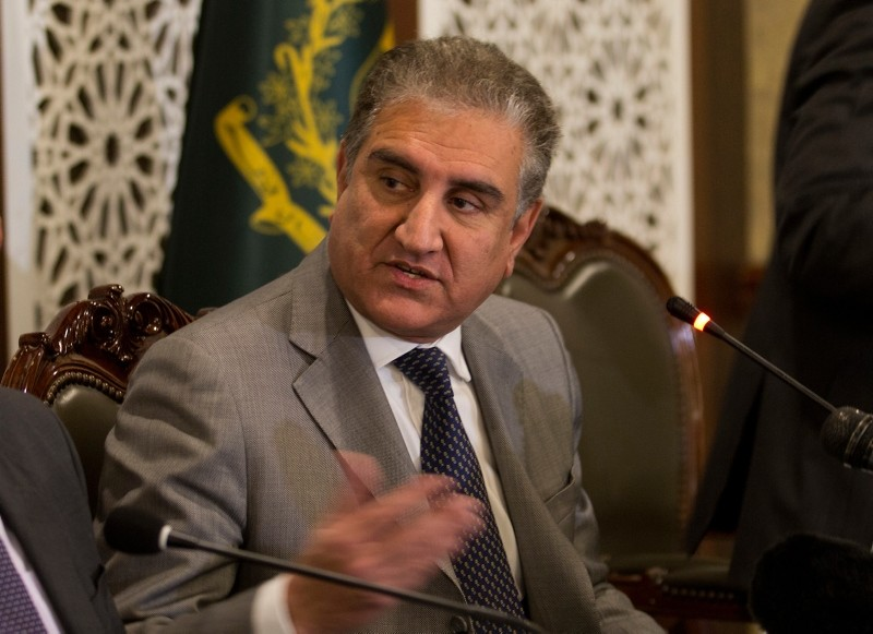 Pakistan Foreign Minister Shah Mahmood Qureshi briefs journalists about the upcoming visit by Saudi Arabia's Crown Prince to Pakistan, in Islamabad, Pakistan, Wednesday, Feb. 13, 2019. (AP Photo)