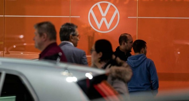 A Volkswagen logo is pictured during the Brussel Motor Show on Jan. 9, 2020, in Brussel. AFP Photo