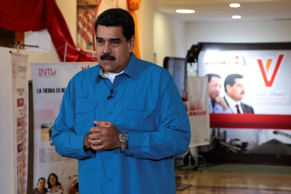 Venezuelau2019s President Nicolas Maduro speaks during his weekly broadcast u201cLos Domingos con Madurou201d (Sundays with Maduro) in Caracas.