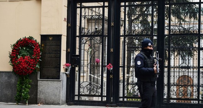 A Turkish police officer standing guard outside the Russian consulate in Istanbul on Dec. 20, 2016, a day after the assassination of the Russian ambassador in the Turkish capital.