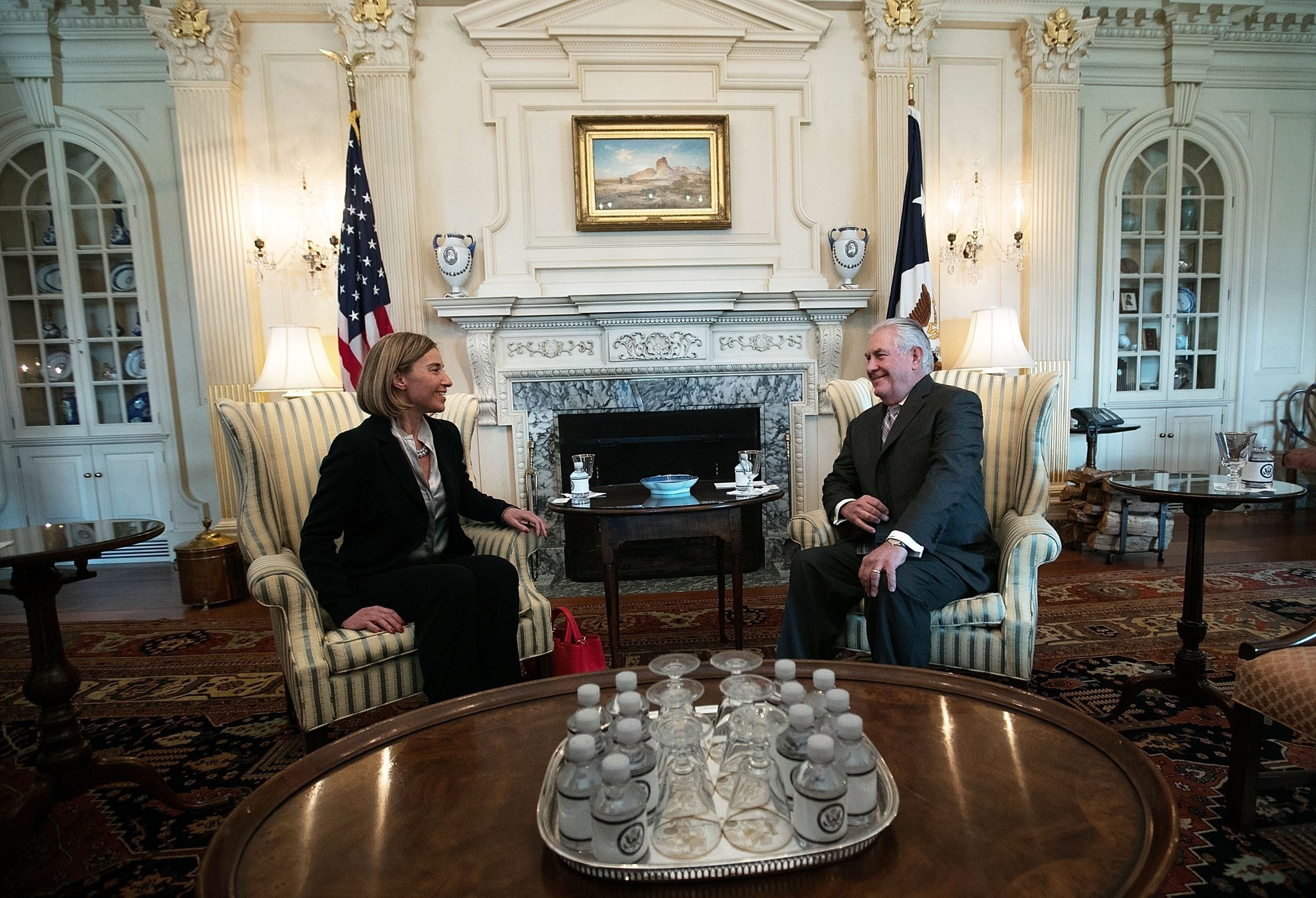 U.S. Secretary of State Rex Tillerson (R) meets with European Union High Representative Federica Mogherini (L) at the State Department February 9, 2017 in Washington, DC. (AFP Photo)