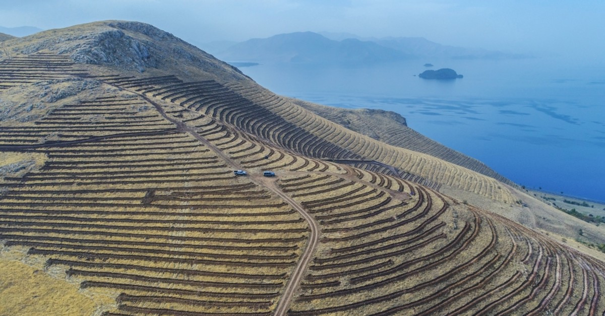 Freshly built terraces on the outskirts of Artos Mountain in the eastern province of Van. Terraces where saplings are being planted help prevent soil erosion in this arid area.