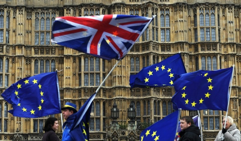 Pro-EU campaigners protest outside the Parliament in London, United Kingdom, Jan. 29, 2018. (EPA Photo)