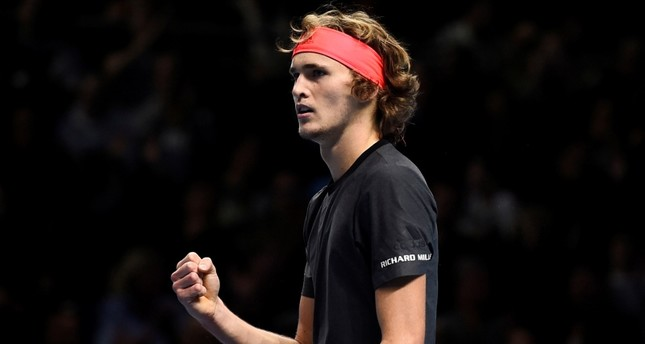 Germany's Alexander Zverev reacts during his  final match against Serbia's Novak Djokovic at the ATP World Tour Finals tennis tournament  at the O2 Arena in London, Britain, 18 November 2018 (EPA Photo)