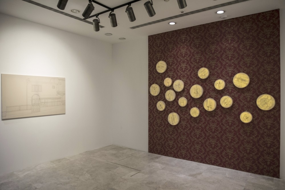 Of the 21 works by Damla Yalu00e7u0131n, 17 are on hoops and the rest on canvasses.