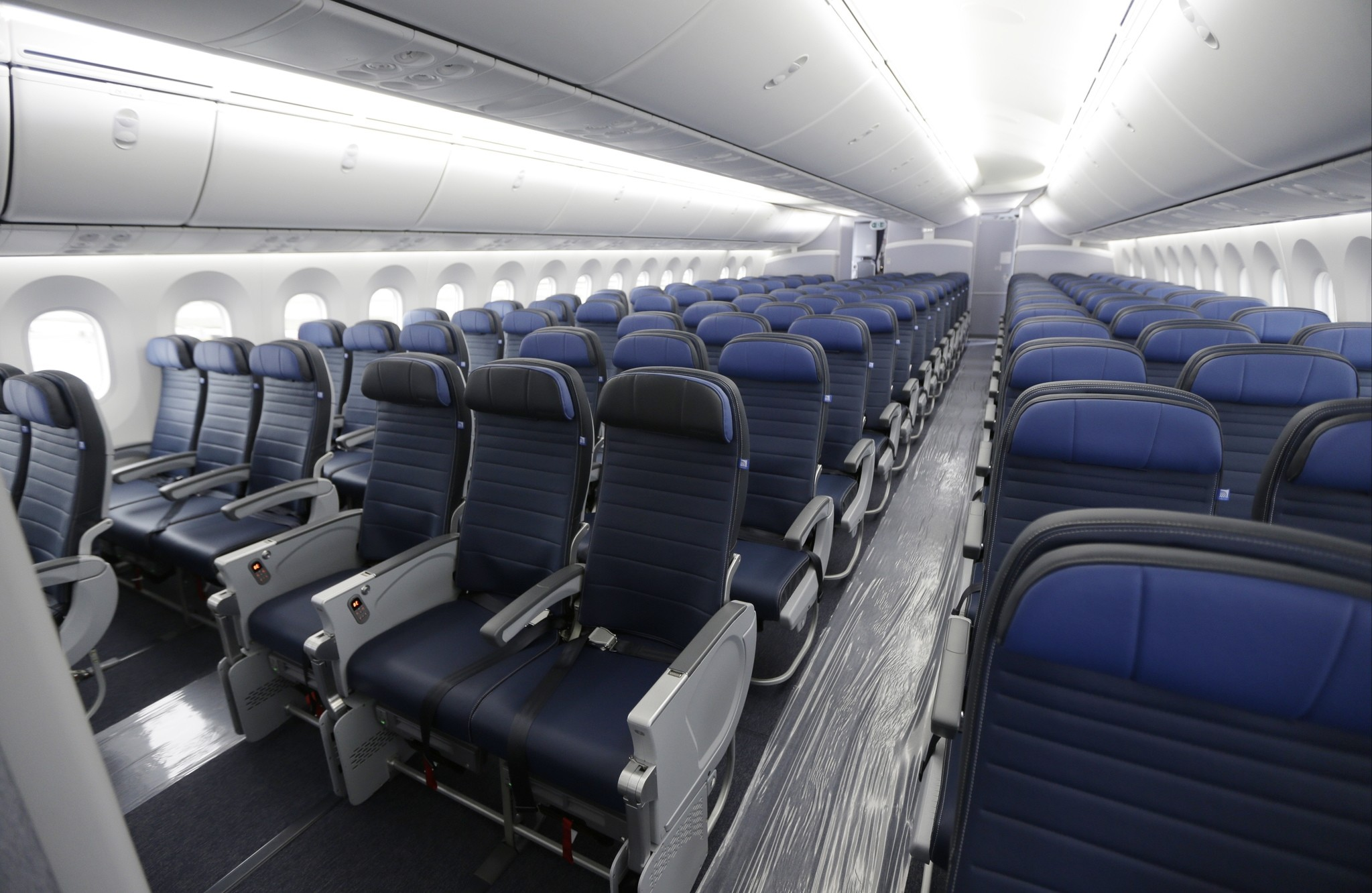This Jan. 26, 2016, file photo, shows economy class seating on a new United Airlines Boeing 787-9 undergoing final configuration and maintenance work at Seattle-Tacoma International Airport in Seattle. (AP Photo)